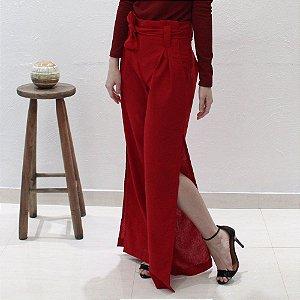 calça pantalona em linho vermelha