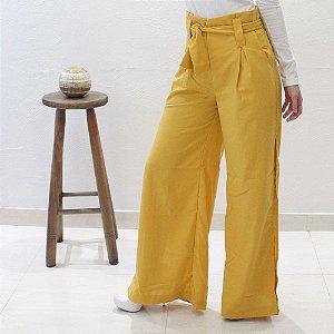 calça pantalona em linho mostarda