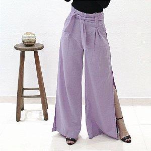 calça pantalona em linho lilás
