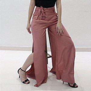 calça pantalona em linho rosé