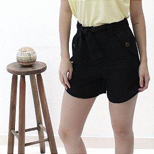 shorts alfaiataria em Linho preto