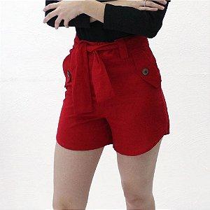 Shorts Alfaiataria em linho vermelho