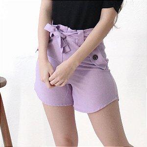 Shorts Alfaiataria em linho lilás