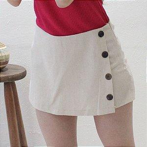 Shorts-saia Alfaiataria em Linho crú