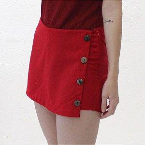 Shorts-saia Alfaiataria em Linho Vermelho