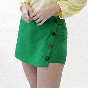 Shorts-saia Alfaiataria em Linho verde