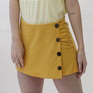 Shorts-saia Alfaiataria em Linho Mostarde