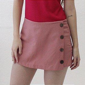 Shorts-saia Alfaiataria em Linho Rosé