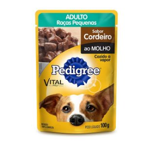 Sache Pedigree Cães Adultos raças pequenas cordeiro ao molho 100g