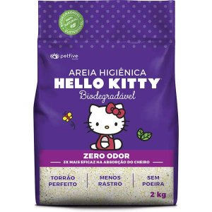 Areia Higiênica Biodegradável Grossa para Gatos Hello Kitty Roxa - 2kg
