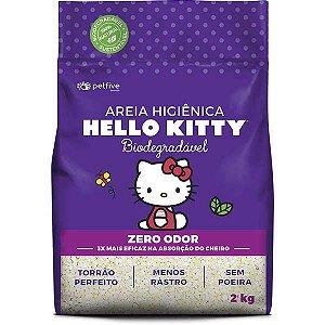 Areia Higiênica Bio Grossa para Gatos Hello Kitty Roxa - 2kg