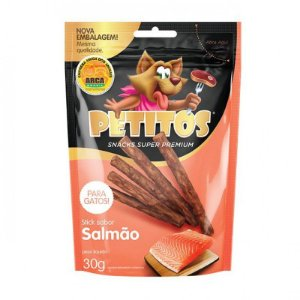 Snack Petitos Para Gatos Sticks Sabor Salmão - 30g