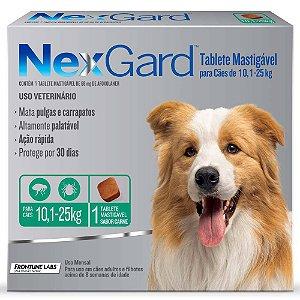 Antipulgas e Carrapatos NexGard Cães de 10,1 a 25 Kg-1 Tab