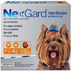 Antipulgas e Carrapatos NexGard Cães de 2 a 4 Kg -1 Tab