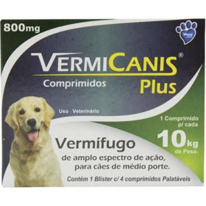 Vermífugo VermiCanis 800mg para Cães de 10 Kg - 4 Comprimidos