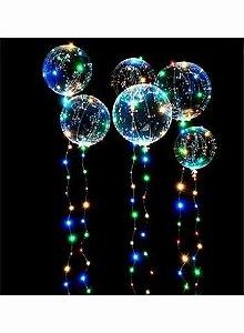 Balão Deco Bubble Plastico transparente com fio de luz de leds coloridos