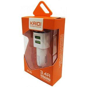 Carregador Veicular USB Duplo 3.4A Kaidi