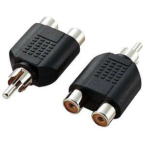 Adaptador 2 RCA F para 1 RCA M