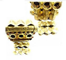 Cabeçote latão bomba 4.8/5.5G25 c/ tampões das válvulas