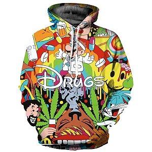 Blusa De Frio Moletom Unissex Drugs Erva Psicodelico Full 3d