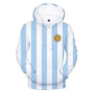 Blusa De Frio Moletom 3d Full Bandeira Argentina