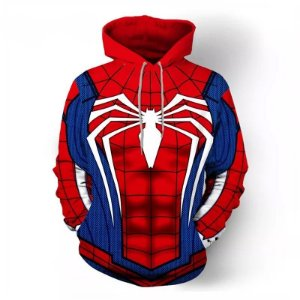 Blusa Moletom Canguru Full 3d Uniforme Homem Aranha Spider Vingadores
