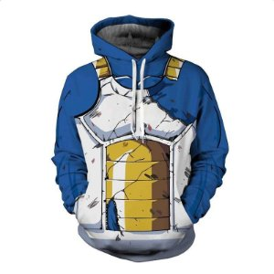 Blusa Moletom Canguru Full 3d Anime Dragon Ball Vegeta Uniforme