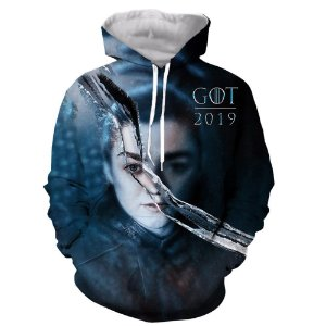 Blusa Moletom Canguru Full 3d Game of Thrones GoT Arya Stark