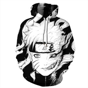 Blusa Moletom Canguru Full 3d Animes Naruto Raposa Manga