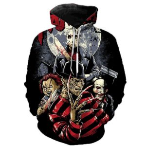 Blusa Moletom Canguru Full 3d Filme Movie Terror Jason Freedy Horror