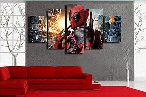 Painel Quadro 5 Partes Deadpool Filme Movie 110X55