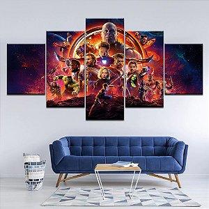 Painel Quadro 5 Partes Vingadores Heróis Avengers 110X55cm