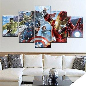 Painel Quadro 5 Partes Vingadores Heróis Avengers Filme 110X55cm