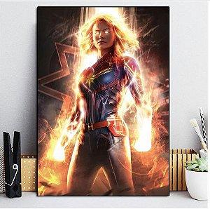 Painel Quadro 1 Tela Vingadores Heróis Capitã Marvel 60x40xm