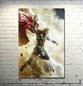 Painel Quadro 1 Tela Vingadores Avengers Thor Martelo  60x40cm