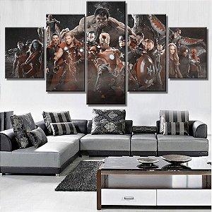 Painel Quadro 5 Partes Vingadores Heróis Avengers Filme Movie 110X55cm
