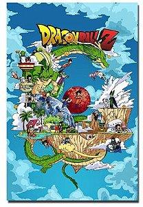 Painel Quadro 1 Tela Anime Dragon Ball Z Personagens 60x40cm