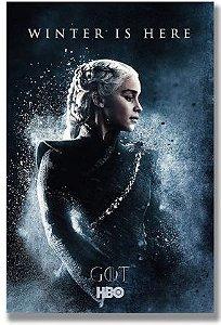 Painel Quadro 1 Tela Série Got Game Of Thrones Winter Is Here 60x40cm