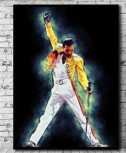 Painel Quadro 1 Tela Série Freddie Mercury Queen Banda Rock  60x40cm