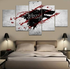 Painel Quadro 5 Partes Série Got Game Of Thrones Winter Is Coming 110X55cm