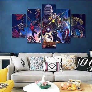 Painel Quadro 5 Partes Vingadores Filme Avengers Heróis 110X55cm