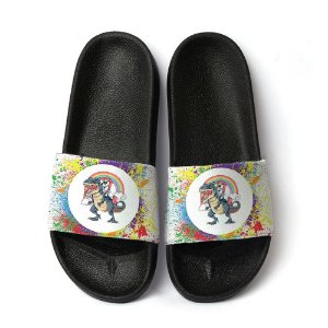 Chinelo Slide Unissex Unicornio T-rex Rainbow