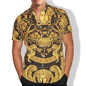 Camisa Praia Summer Verão Ouro Formas Estatua