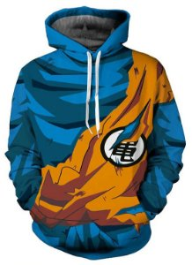 Moletom Blusa 3d Full Dragon Ball Goku Uniforme Super Saiyajin Anime