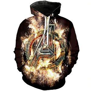 Blusa De Frio 3d Full Avengers Vingadores Logo Filme Cinema