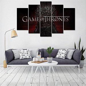 Painel Quadro 5 Partes Série Got Game Of Thrones Trono 110X55cm