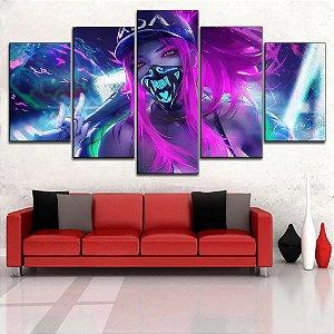 Painel Quadro 5 Partes 110X55cm Lol League Of Legends Kda