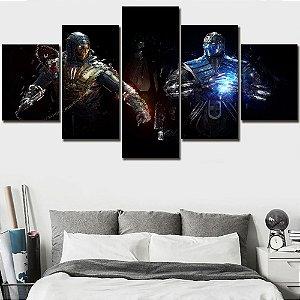 Painel Quadro 5 Partes 110X55cm Jogo Mortal Kombat Sub-zero Scorpion