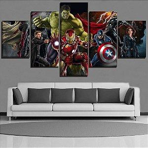 Painel Quadro 5 Partes 110X55cm Vingadores Avengers Heróis
