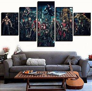 Painel Quadro 5 Partes 110X55cm Vingadores Avengers Guerra Infinita